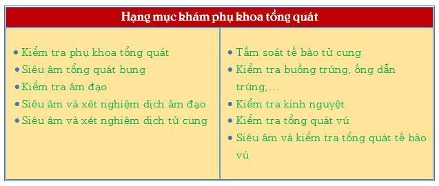 Các hạng mục khám tổng quát phụ khoa tại Đa khoa Nguyễn Trải - Thủ Dầu Một